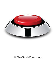 Red button with metallic, chrome elements, vector design.