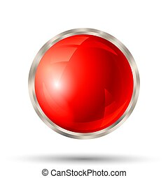 Red button with silver metallic border