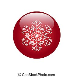 .Red button with snowflake icon. Vector image for your design.