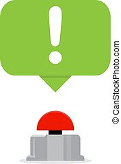 Red button with speech bubbles. Quiz concept