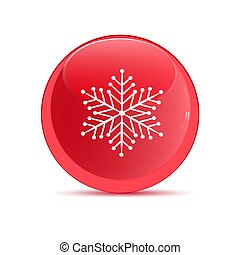 Red button with the image of snowflakes.
