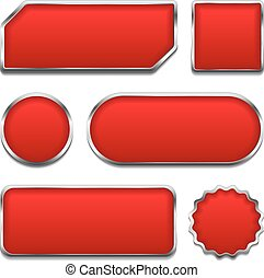 Red Buttons - Set of red buttons with metallic frames,...