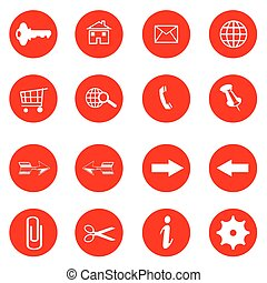 red buttons with internet icons vector set