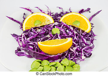Red Cabbage salad with orange