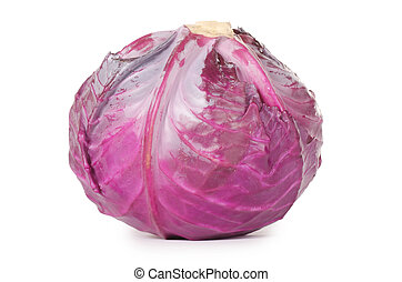 Red cabbage - The red cabbage isolated on white background