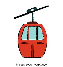 red cable car transport icon