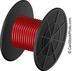 Red cable coil mockup, realistic style - Red cable coil...