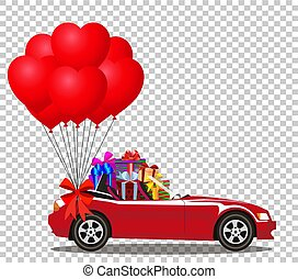 Red cabriolet car full of gifts and bunch of red heart balloons