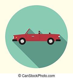 Red cabriolet car icon