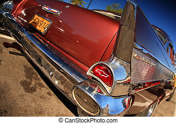 Red cadillac - An old Red American Cadillac on the streets...