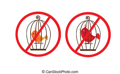 cage birds prohibited symbol - red cage birds prohibited...