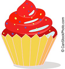 Red cake, illustration, vector on white background.