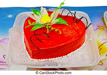 Red cake in the shape of a heart
