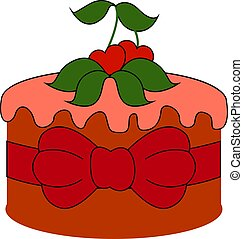 Red cake with cherry, illustration, vector on white background.