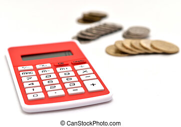 Red Calculator and japanese coin isolated on white background.