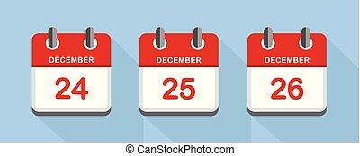 red calendar 24 25 26 december christmas holidays vector...