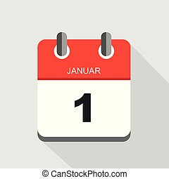 red calendar icon 1 january vector illustration EPS10