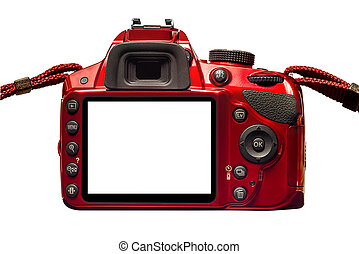 Red Camera Back With Blank Monitor