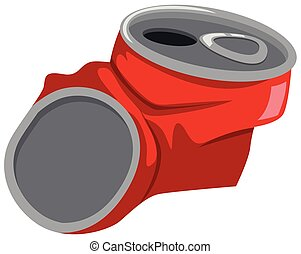 Red can being crushed