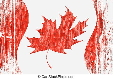 Red Canadian Flag On Wood