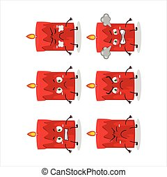 Red candle cartoon character with various angry expressions
