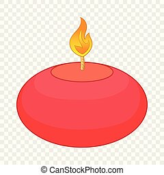 Red candle icon, cartoon style