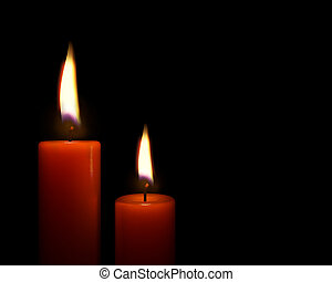 Red candles on black background