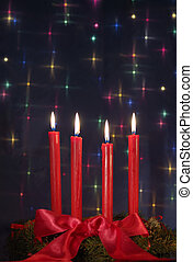 red candles on Christmas blue glow background