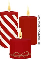 Red candles with fire on white background