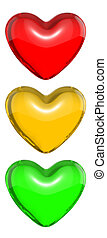Red candy heart colored as traffic light, isolated on white...
