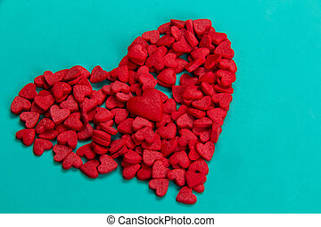 red candy in the form of heart
