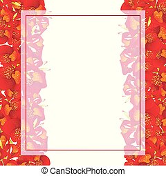 Red Canna lily Banner Card Border