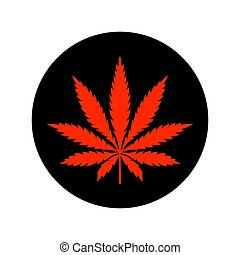 Red cannabis sticker isolated on white background