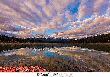 Red canoe boats