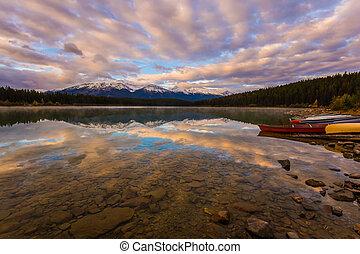 Red canoe sports boats