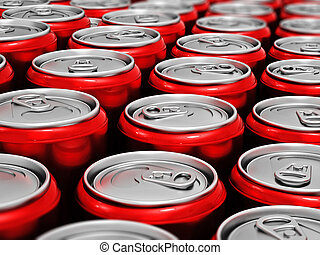 Red cans of soft non alcoholic drinks background. 3D illustration