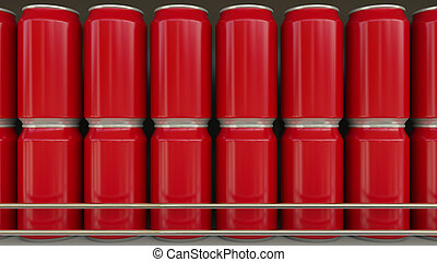 Red cans with no logo at supermarket. Soft drinks or beer on grocery store shelf. Modern recycling packaging. 3D rendering