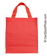 red canvas shopping bag isolated on white background with clipping path