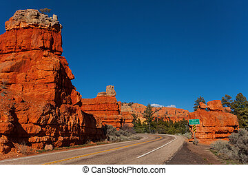 Red canyon and road in Utah