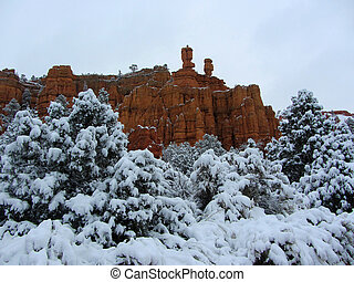 Red Canyon covered in snow, Dixie National Forest, Utah USA