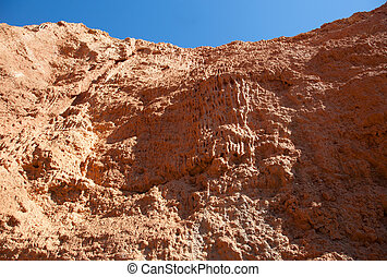 Red Canyon in the background of blue sky
