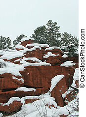 Red Canyon rock walls after a heavy snowstorm