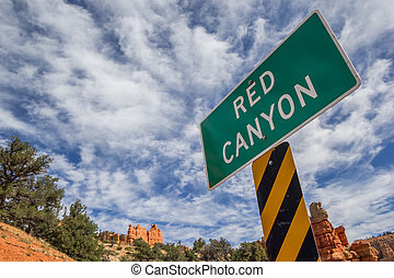 Red Canyon sign in Utah