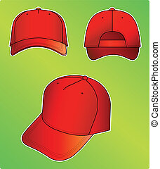 Red cap vector illustration isolated on green background....