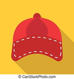 Red cap icon, flat style - Red cap icon. Flat illustration...