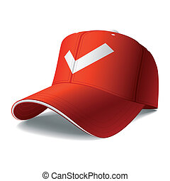 Vector illustration of a red baseball cap. Insert your logo or graphics.