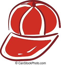 Red cap, vector or color illustration.