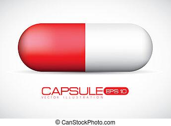 Red Capsule illustration - Capsule illustration isolated on...