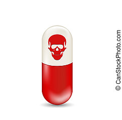 Red capsule with skull, isolated on white background