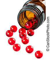 Red capsules on a white background